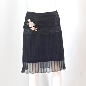 Black Betsey Johnson Skirt With Lace